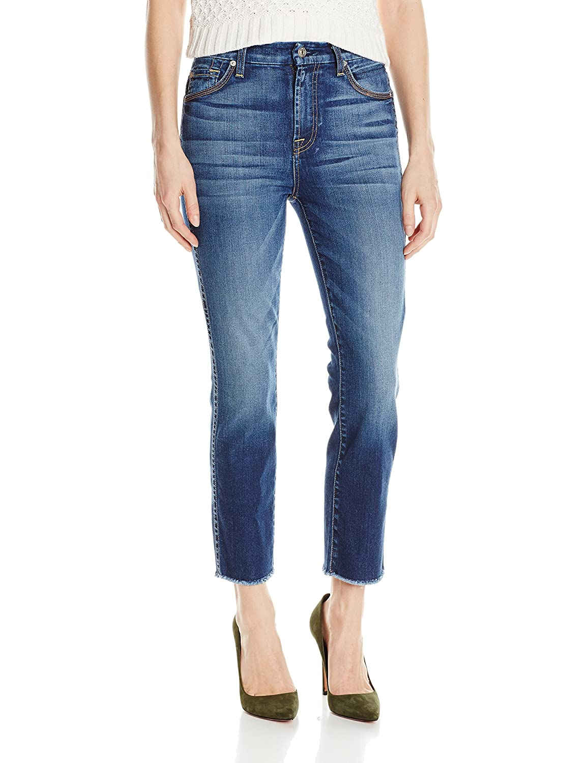 7 For All Mankind Women's Ankle Straight with Raw Hem Jean
