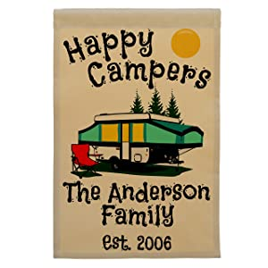 Happy Campers Pop-up Camper Personalized Campsite Flag, Customize Your Way (Black/Green Pop-up)