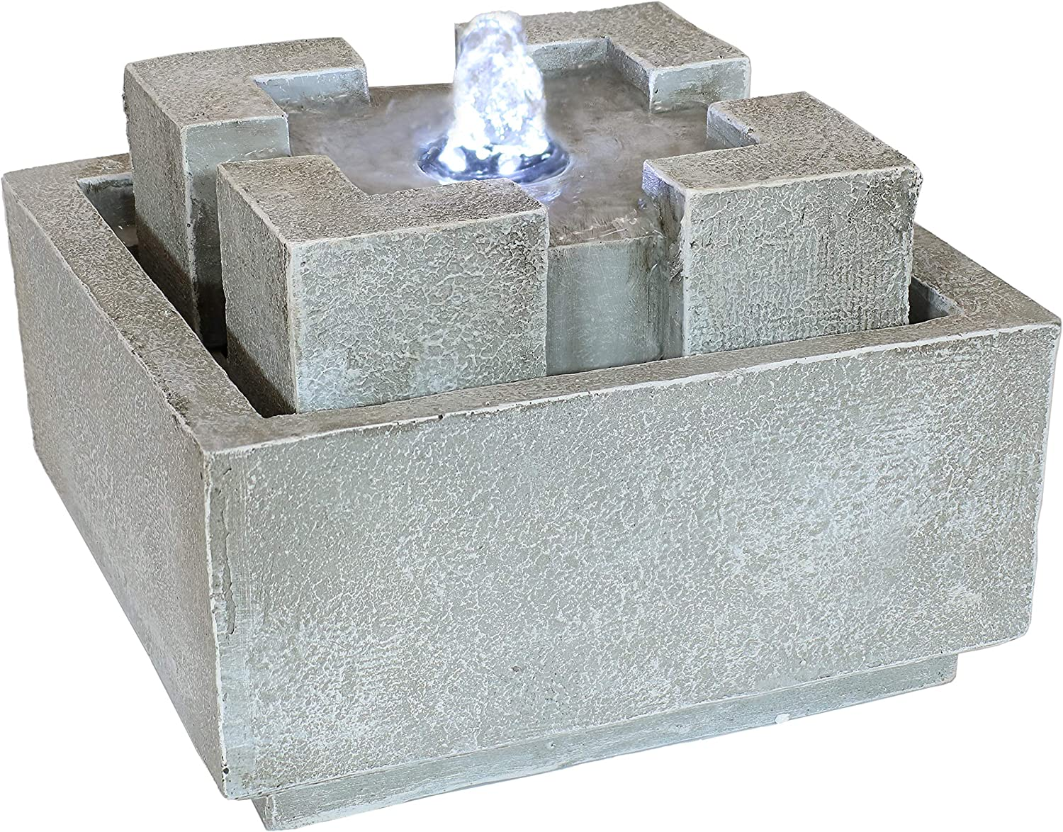 Sunnydaze 7-Inch Square Dynasty Bubbling Indoor Tabletop Water Fountain - Interior Water Feature - Decor for Kitchen, Dining Room, Bedroom and Living Room