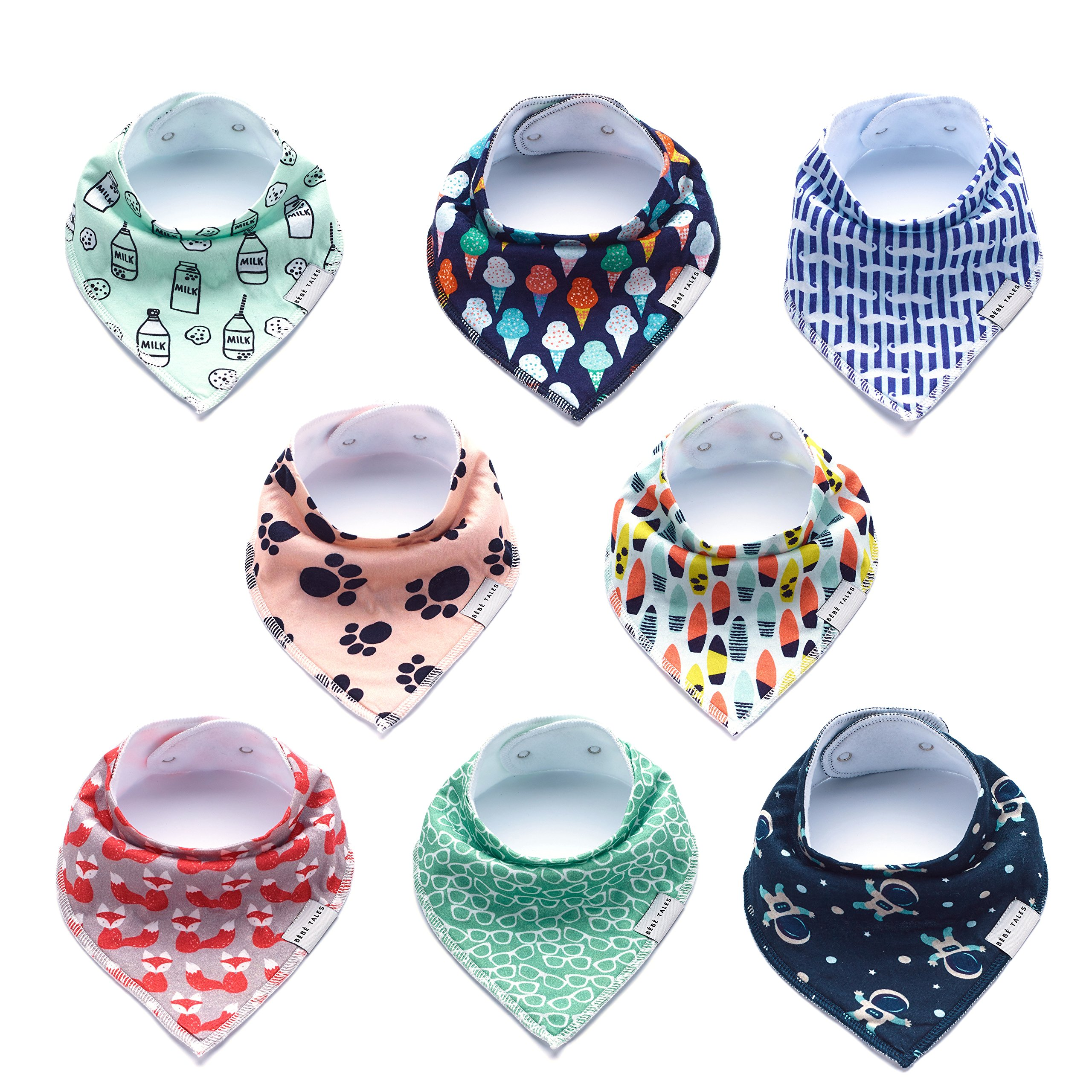 Premium Bandana Bibs for Boys Extra Soft - 8-Pack Baby Boy Drool Bib for Drooling and Teething, Natural Cotton, Hypoallergenic, Organic, Super Absorbent, Bandanas for Infant Boys Girls Toddler, Unisex