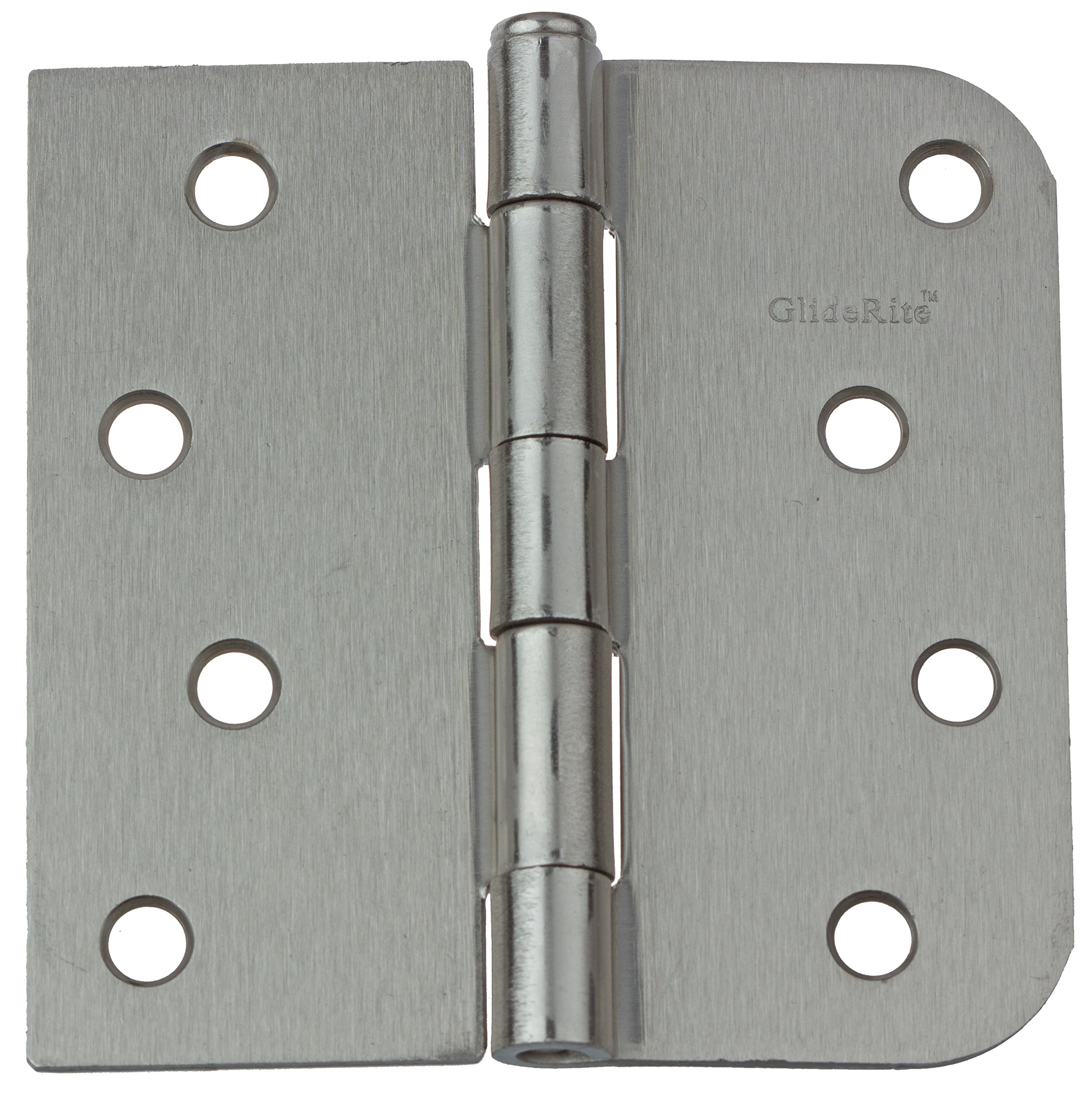 GlideRite Hardware 4000-SQ-58-SN-12 4 inch steel Door Hinges 0.625 Radius & Square Corners Satin Nickel Finish 12 Pack