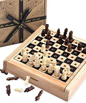 Juego de ajedrez de Viaje de Jaques - Juego de ajedrez auténtico de Jaques Tallado a Mano - Juego de ajedrez de Calidad Desde 1795: Amazon.es: Juguetes y juegos