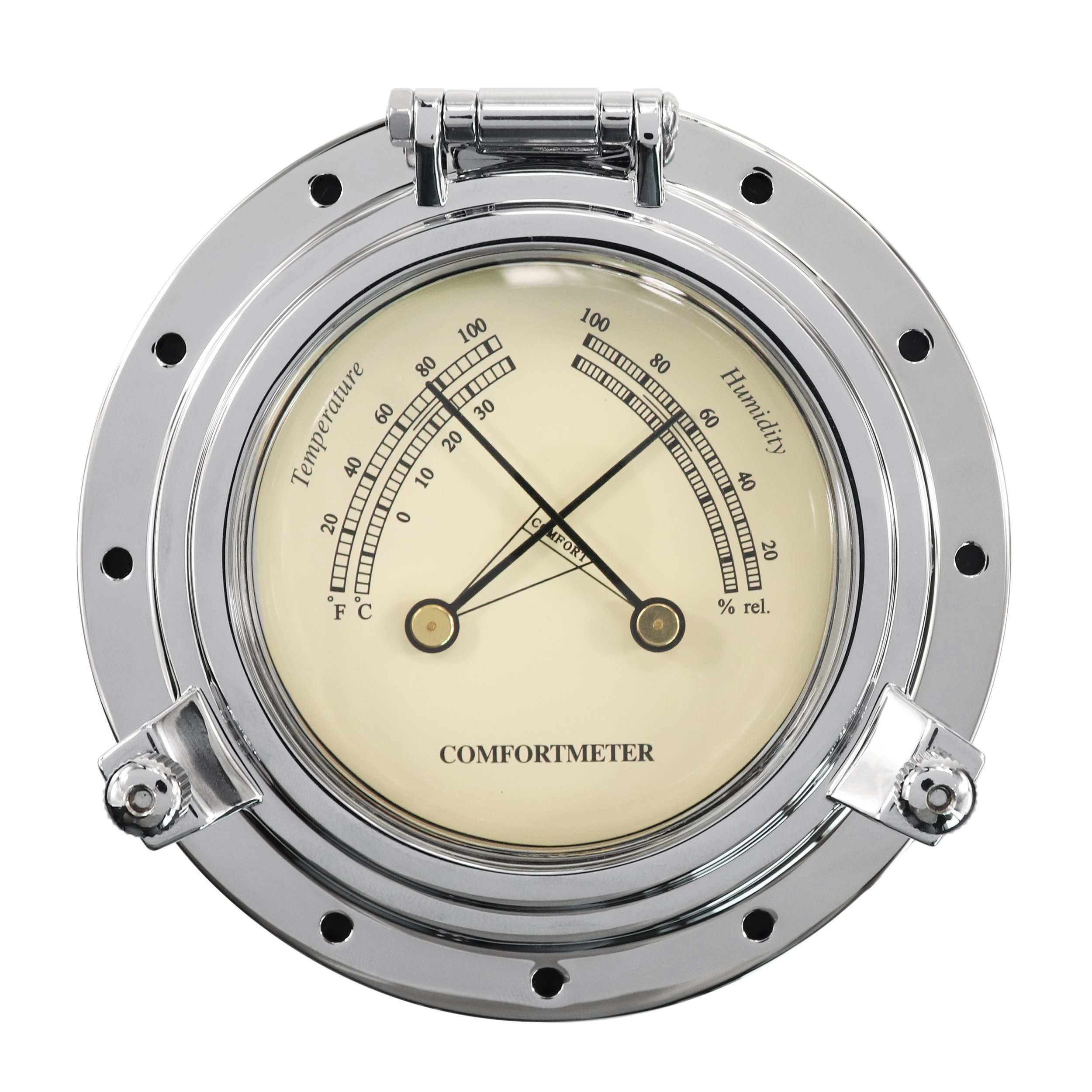 iztor Comfortmeter Temperature and Humidity 3.85'' Dial Brass Housing-Silver