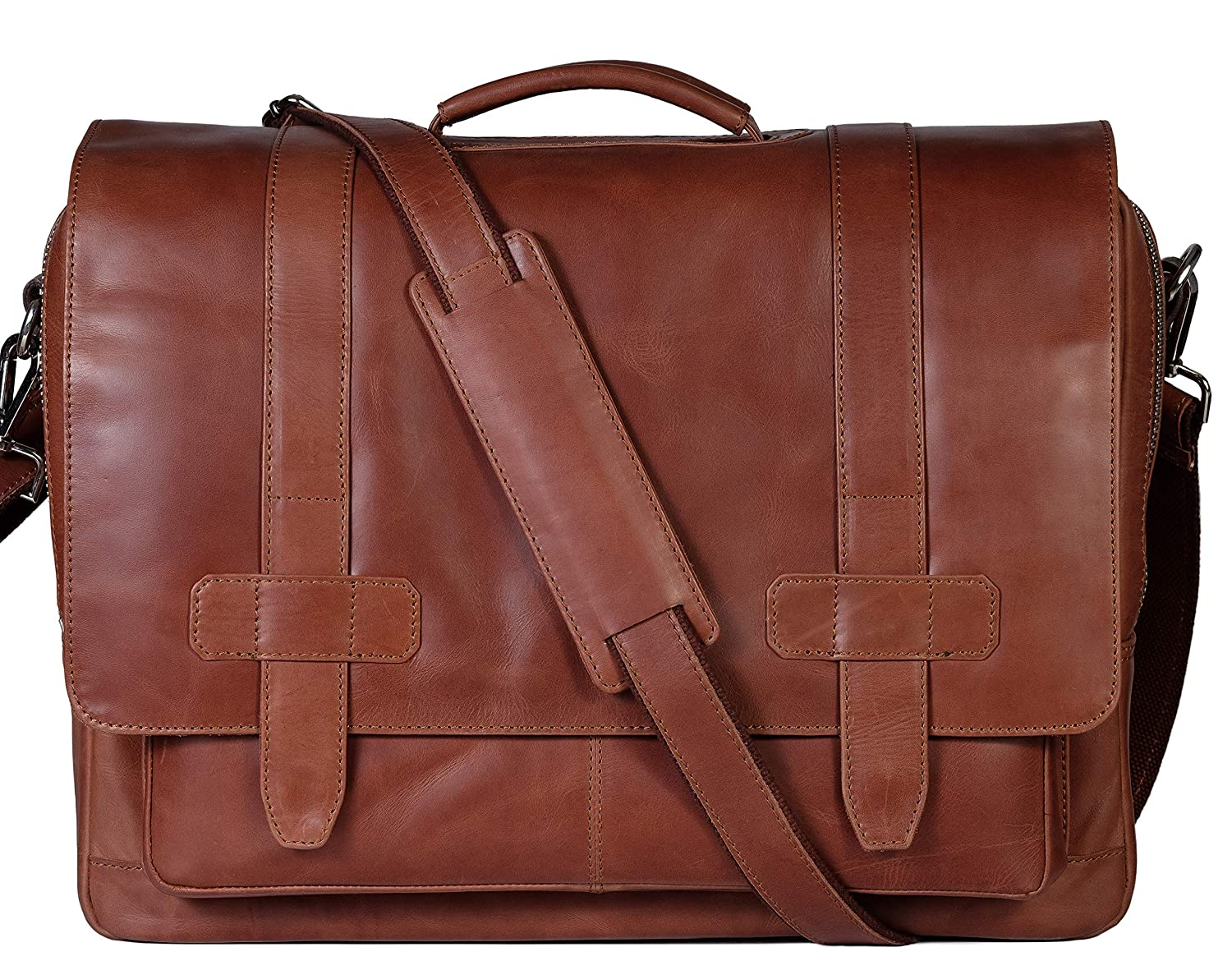 fits 15.4 inch Laptop 16 inch by 12 inch by 4 inch Full-Grain Leather Messenger Laptop Bag//Briefcase for Men Chestnut Brown Adjustable Strap Logan by Ladderback