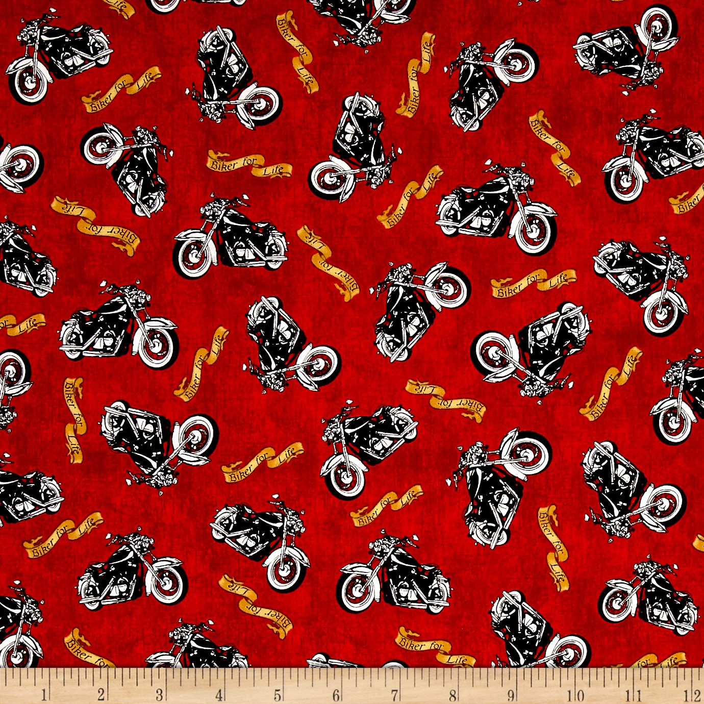 Biker For Life Motorcycle Toss Red Fabric By The Yard