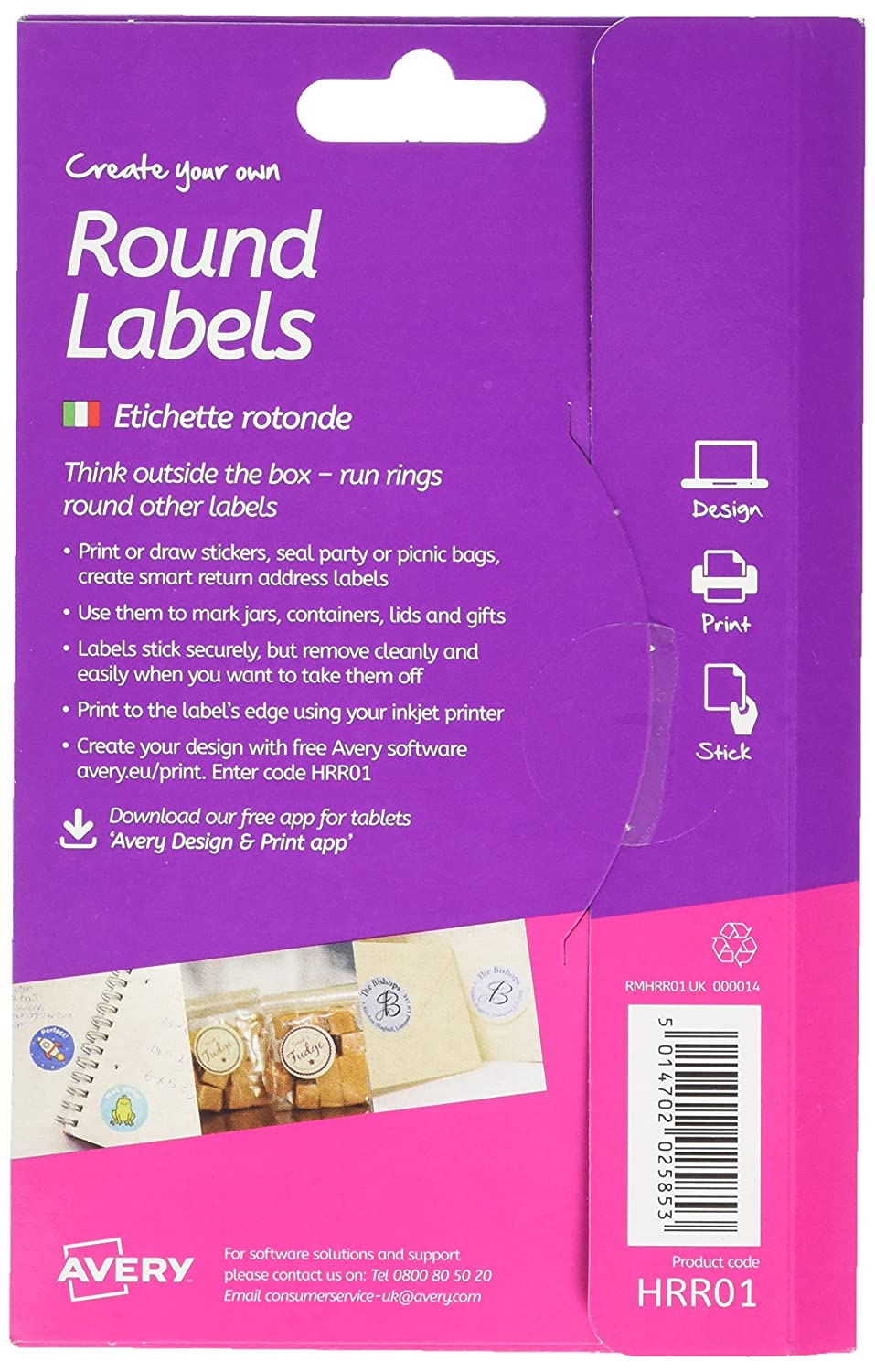 Avery Create Your Own Self-Adhesive Removable Round Labels 6 Labels Per A6 Sheet