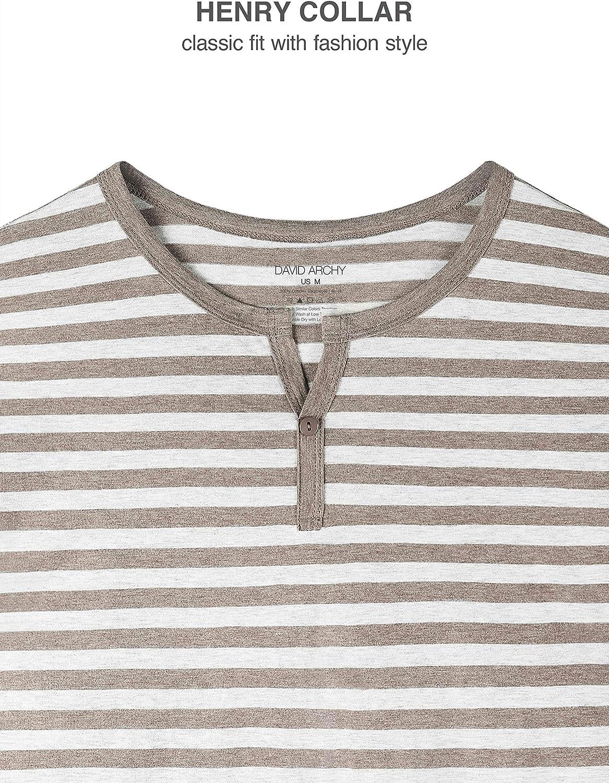 DAVID ARCHY Mens Cotton Striped Sleepwear Long Sleeve Top and Bottom Pajama Set