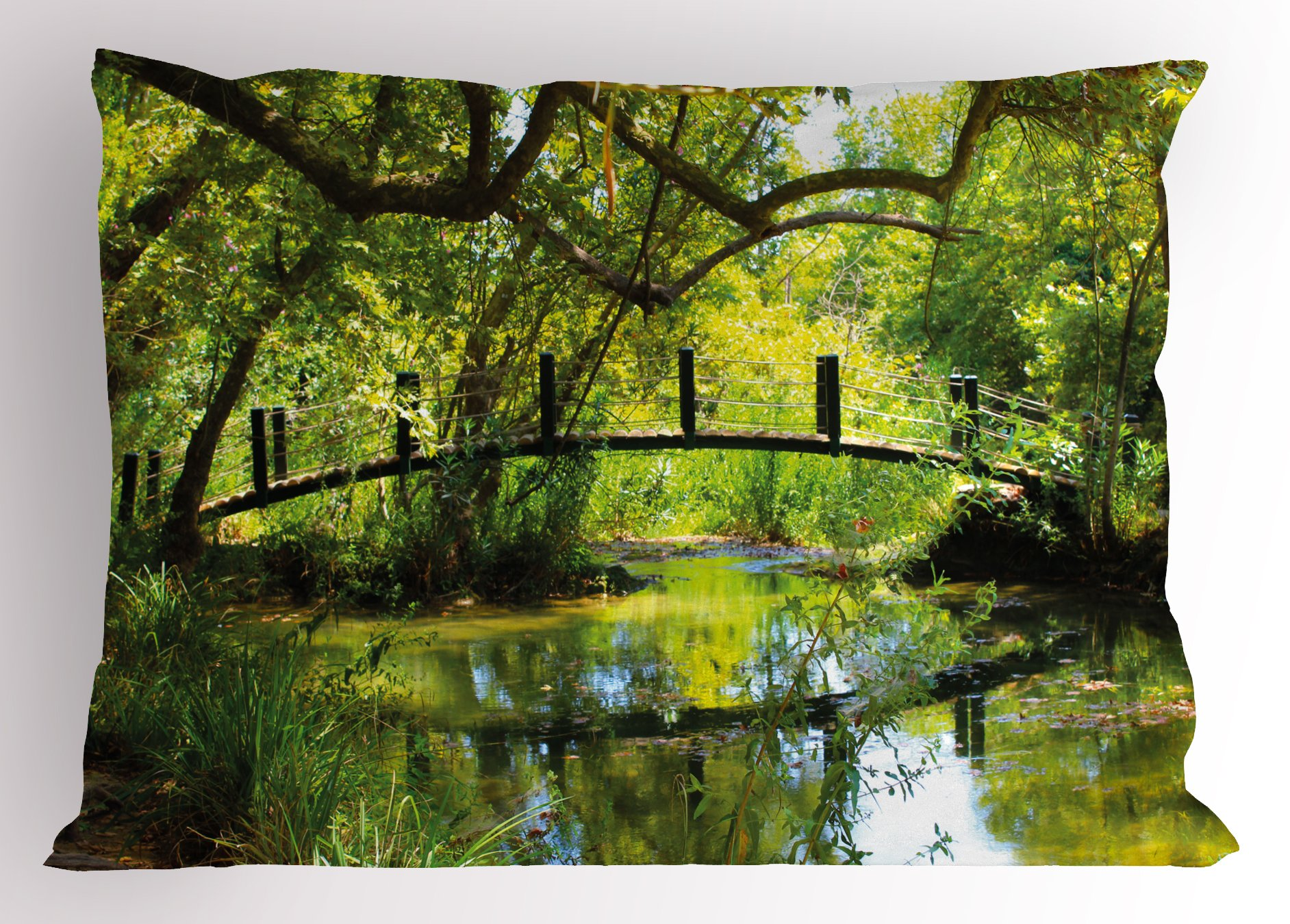 Lunarable Nature Pillow Sham, Photo of a Forest with Bridge Lake Wilderness Woods Greenery Spring Rural Scenery, Decorative Standard Size Printed Pillowcase, 26 X 20 inches, Green Brown by Lunarable (Image #1)
