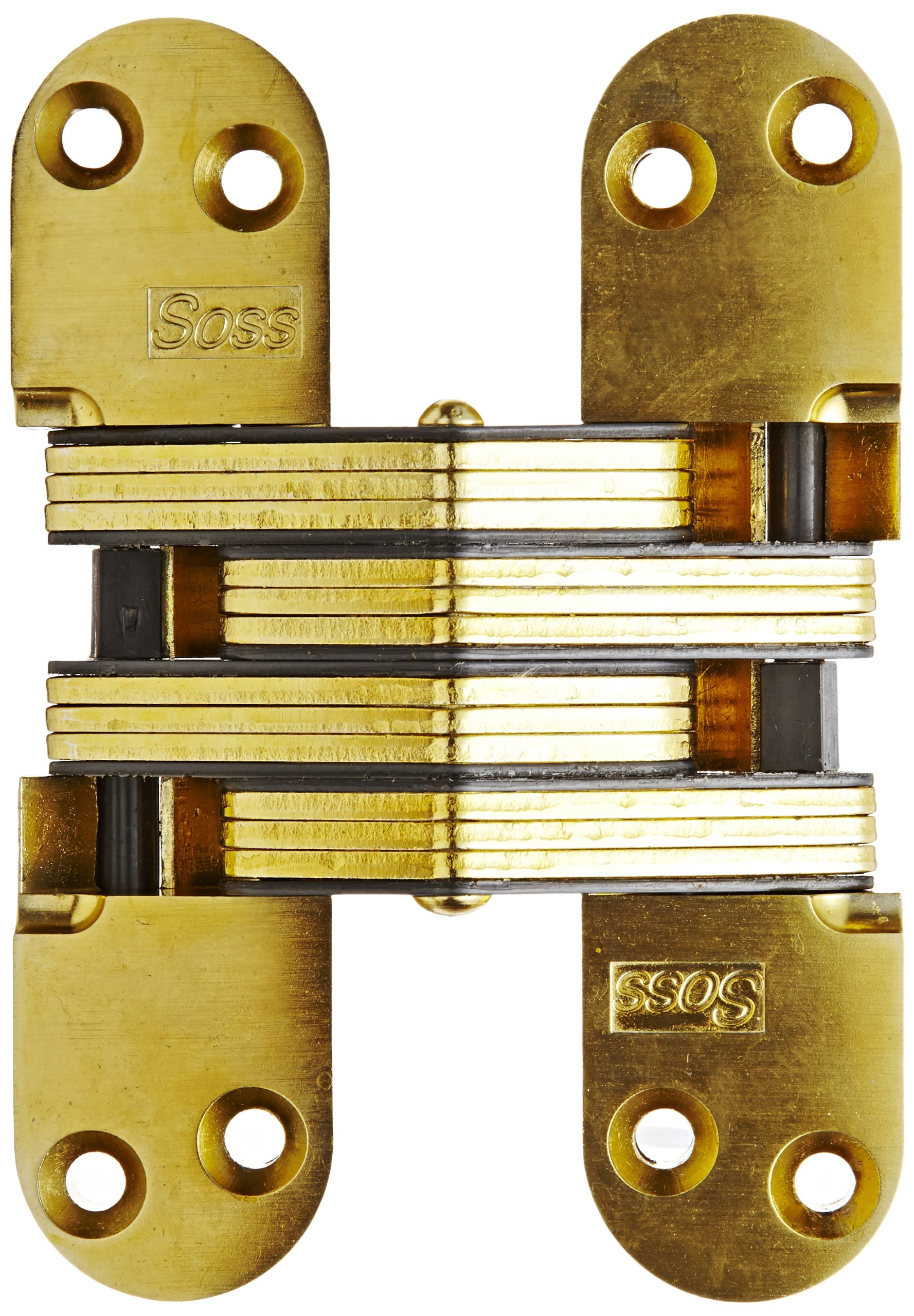 SOSS Mortise Mount Invisible Hinge with 8 Holes, Zinc, Satin Brass Finish, 5-1/2'' Leaf Height, 1-3/8'' Leaf Width, 1-15/16'' Leaf Thickness, 12 x 1-1/2'' Screw Size
