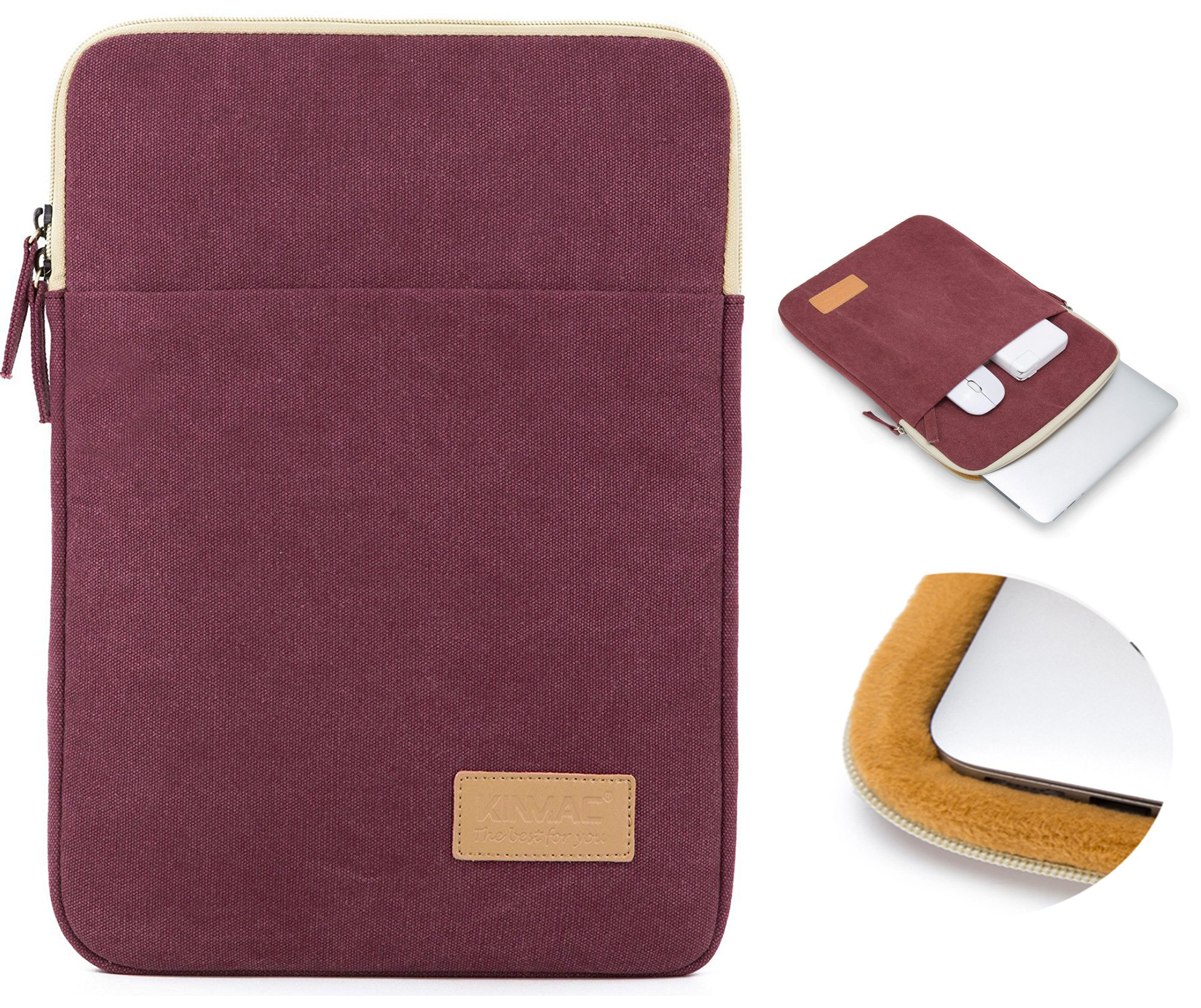 Kinmac Wine Red Color 360 degree protective Canvas Vertical style Waterproof Laptop Sleeve with Pocket for 14 inch 14.0 inch laptop by Kinmac