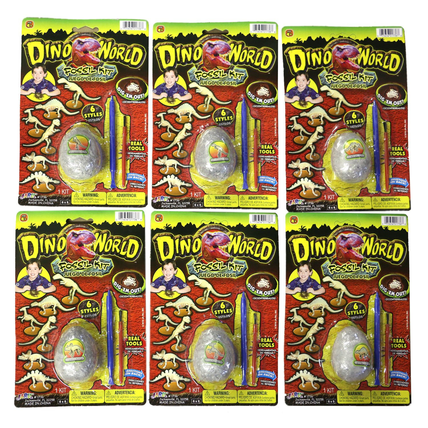 Dino World Dig it Out and Assemble Dinosaur Fossil Kit Egg Shaped (6 Pack All by Dino World (Image #1)