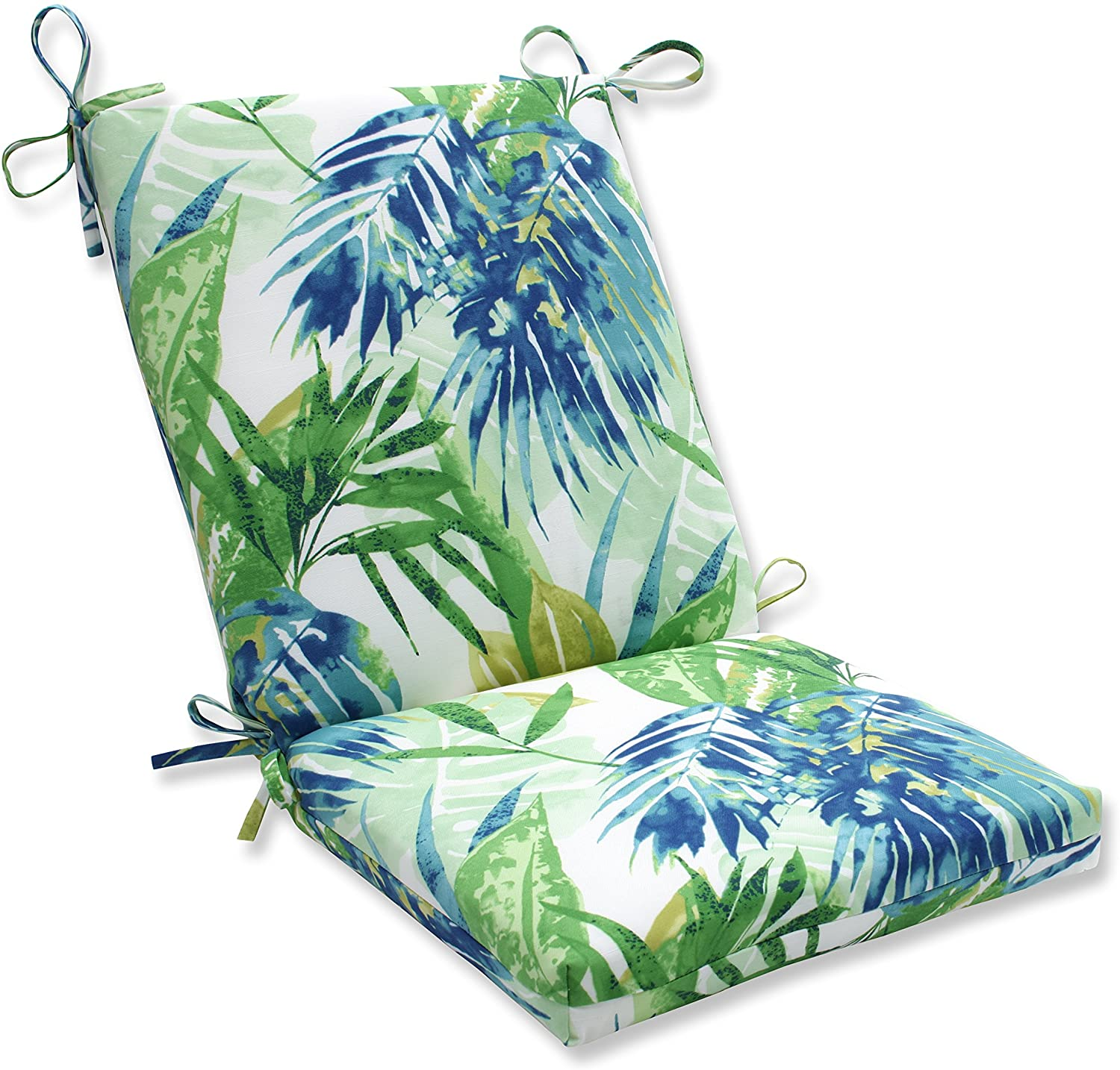 Pillow Perfect Outdoor/Indoor Soleil Squared Corners Chair Cushion, Blue/Green