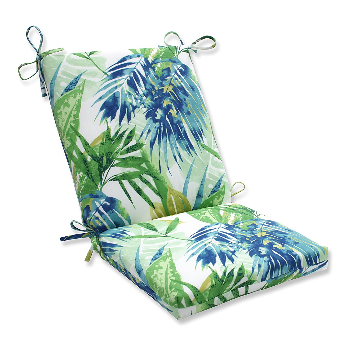 Pillow Perfect Outdoor Indoor Soleil Squared Corners Chair Cushion, Blue Green
