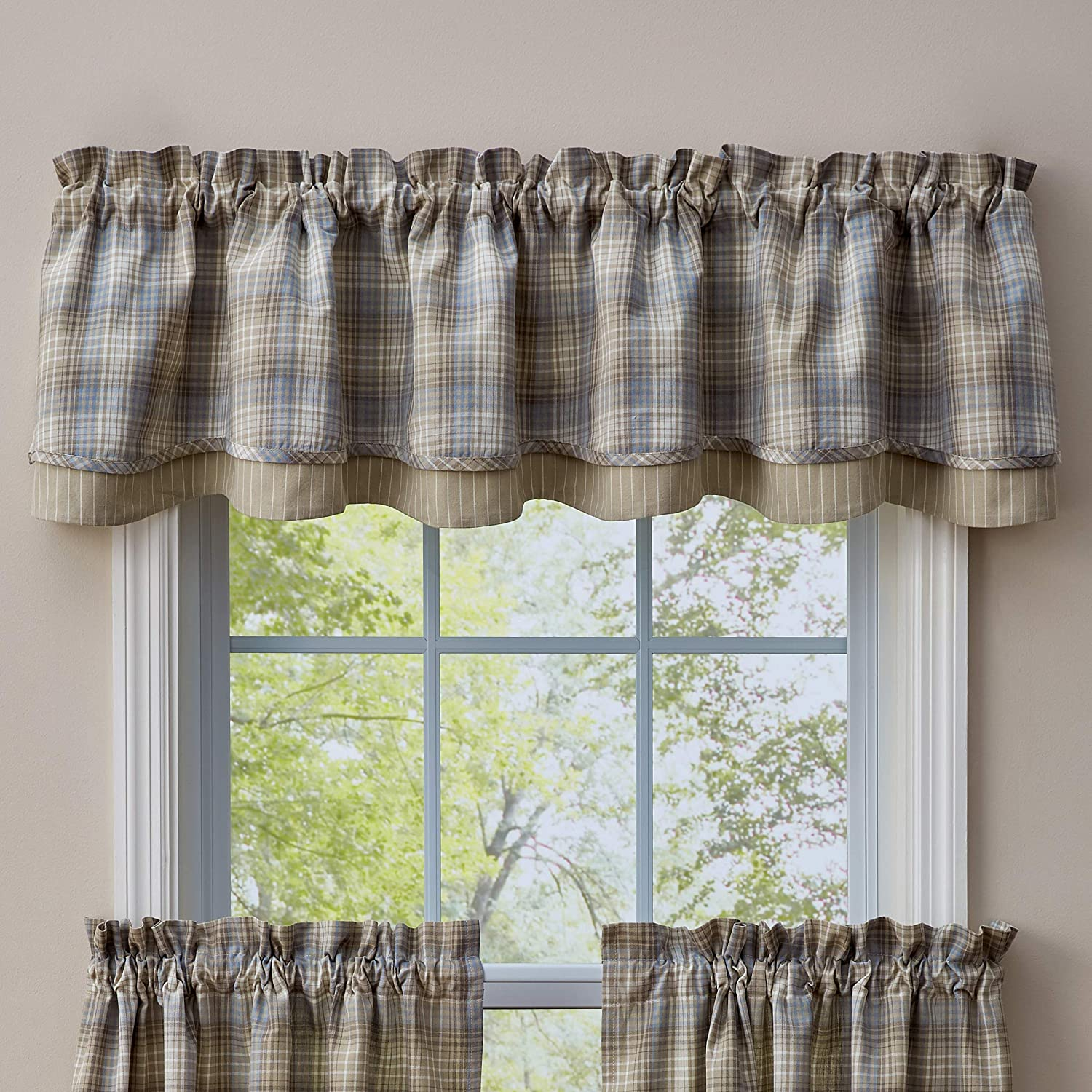 Gray 72 L Park Designs Prairie Wood Lined Layered Valance