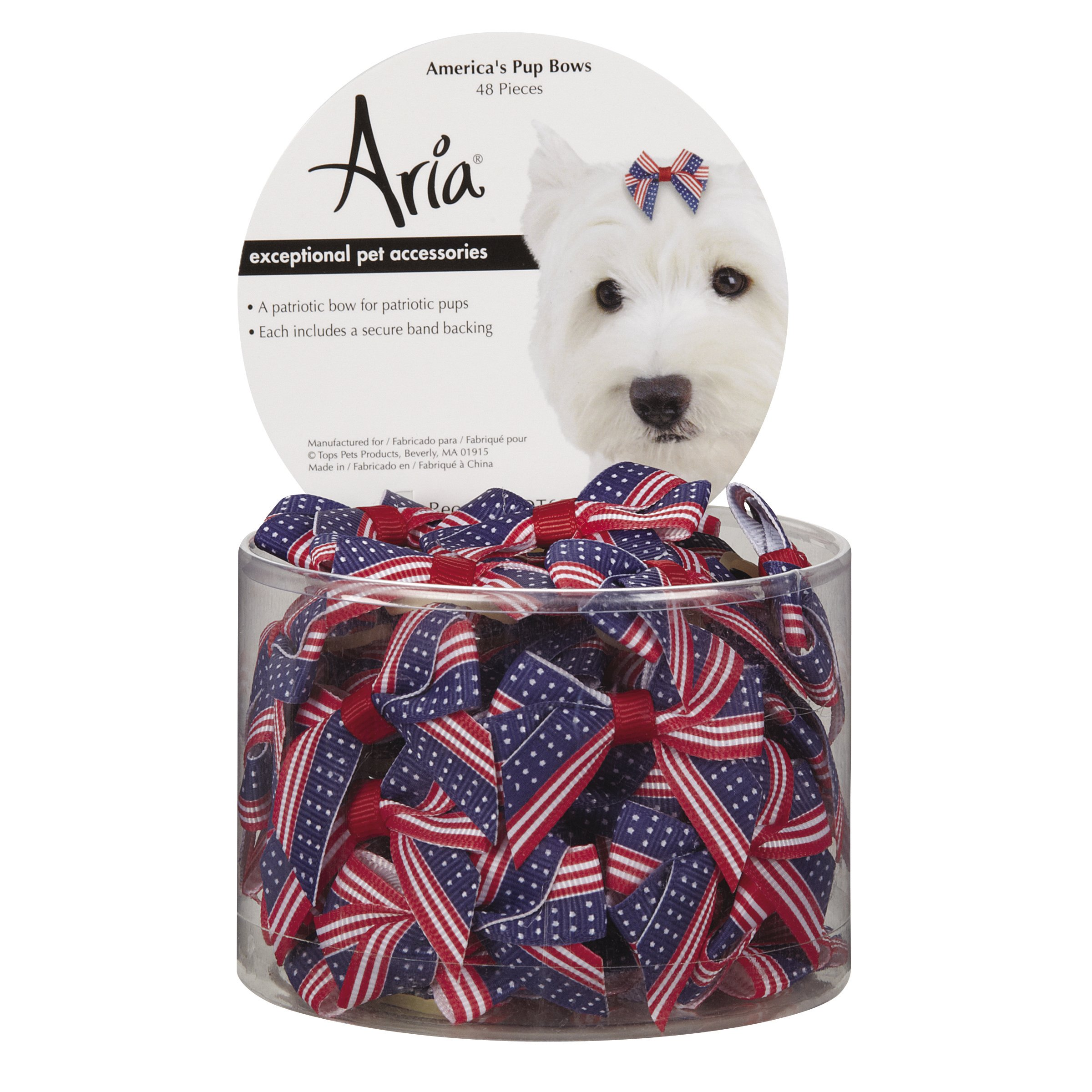 Aria America's Pup Bows for Dogs, 48-Piece Canisters by Aria