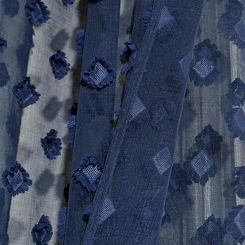 Lush Decor Navy Textured Dot Grommet Sheer Window Curtain Panel Pair 84″ x 38″