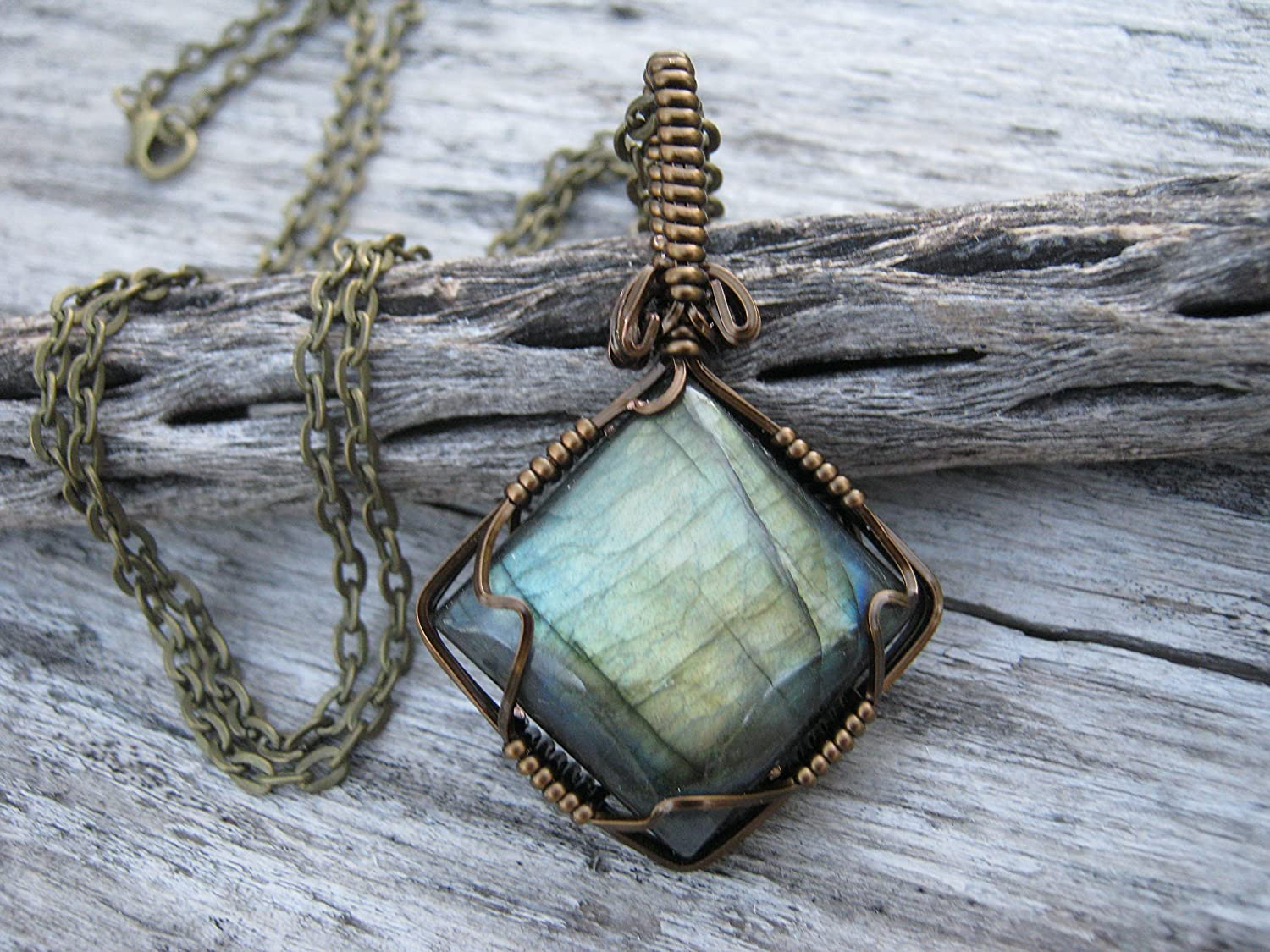 hand made setting Model Jb#100. Green Copper Yellow Pendant LABRADORITE Spectrolite WIRE WRAPPED,100 Blue