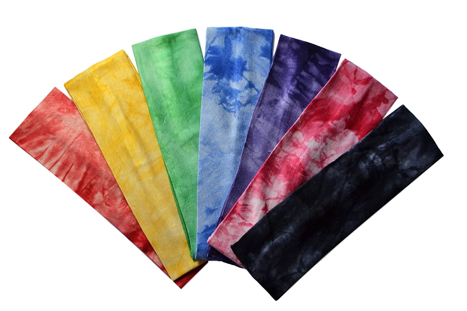 Set of 7 Marble Tie Dye Cotton Lycra Stretch Headbands by Funny Girl Designs