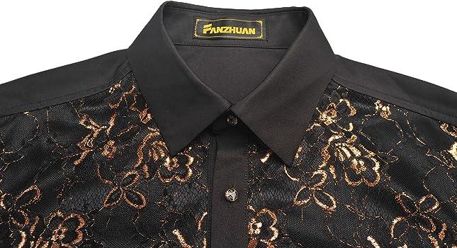 FANZHUAN Camisa Fiesta Hombre Camisas Hombre XXXL Moda Camisas Hombre Camisa Negra Hombre Manga Larga: Amazon.es: Ropa y accesorios