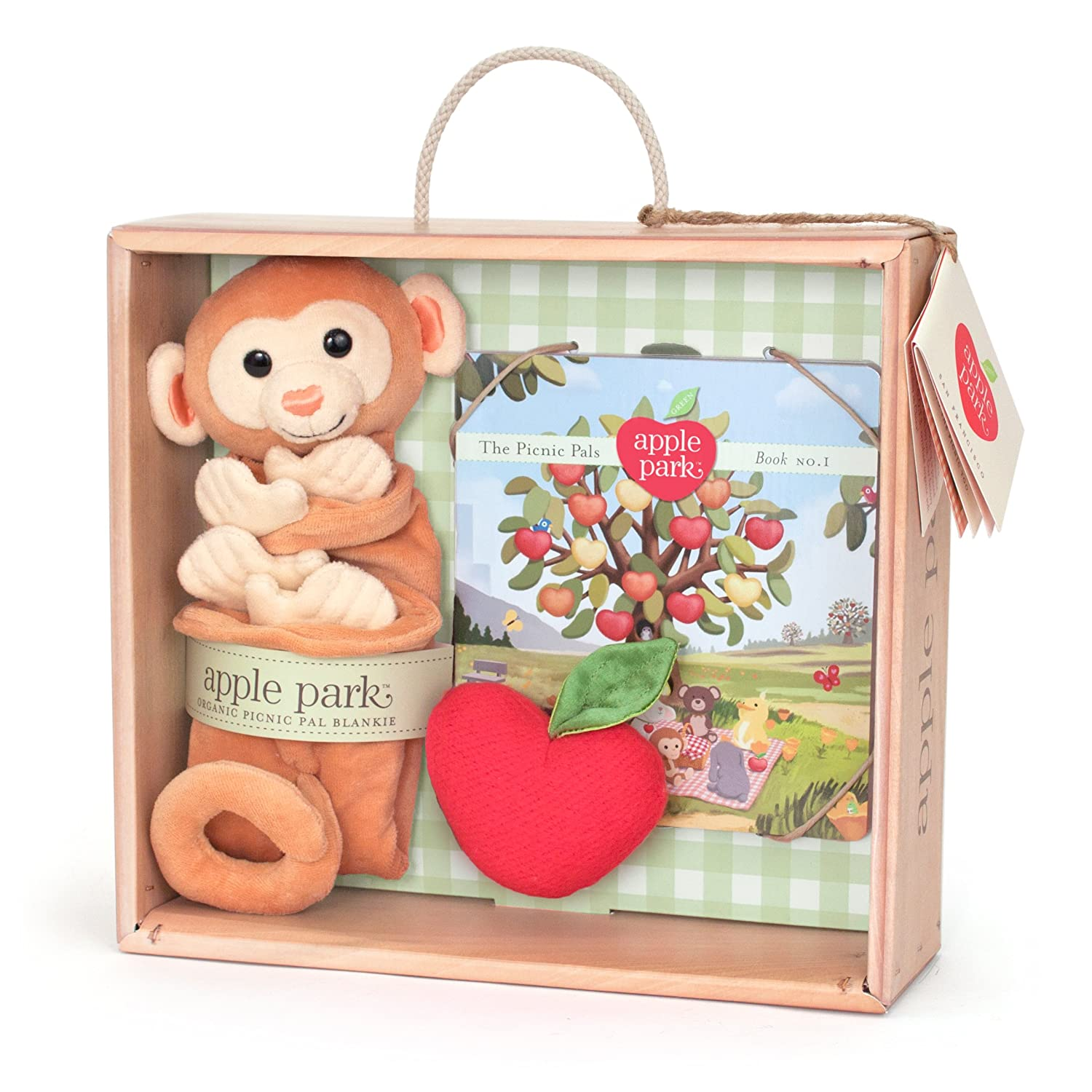 Apple Park Blankie Book and Rattle Gift Crate, Monkey (Discontinued by Manufacturer) by Apple Park
