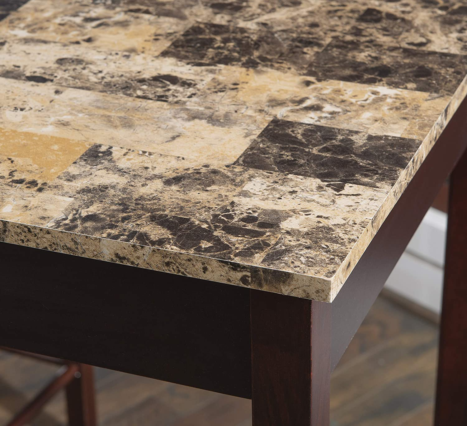 3-Piece Table Faux Marble Tavern Set