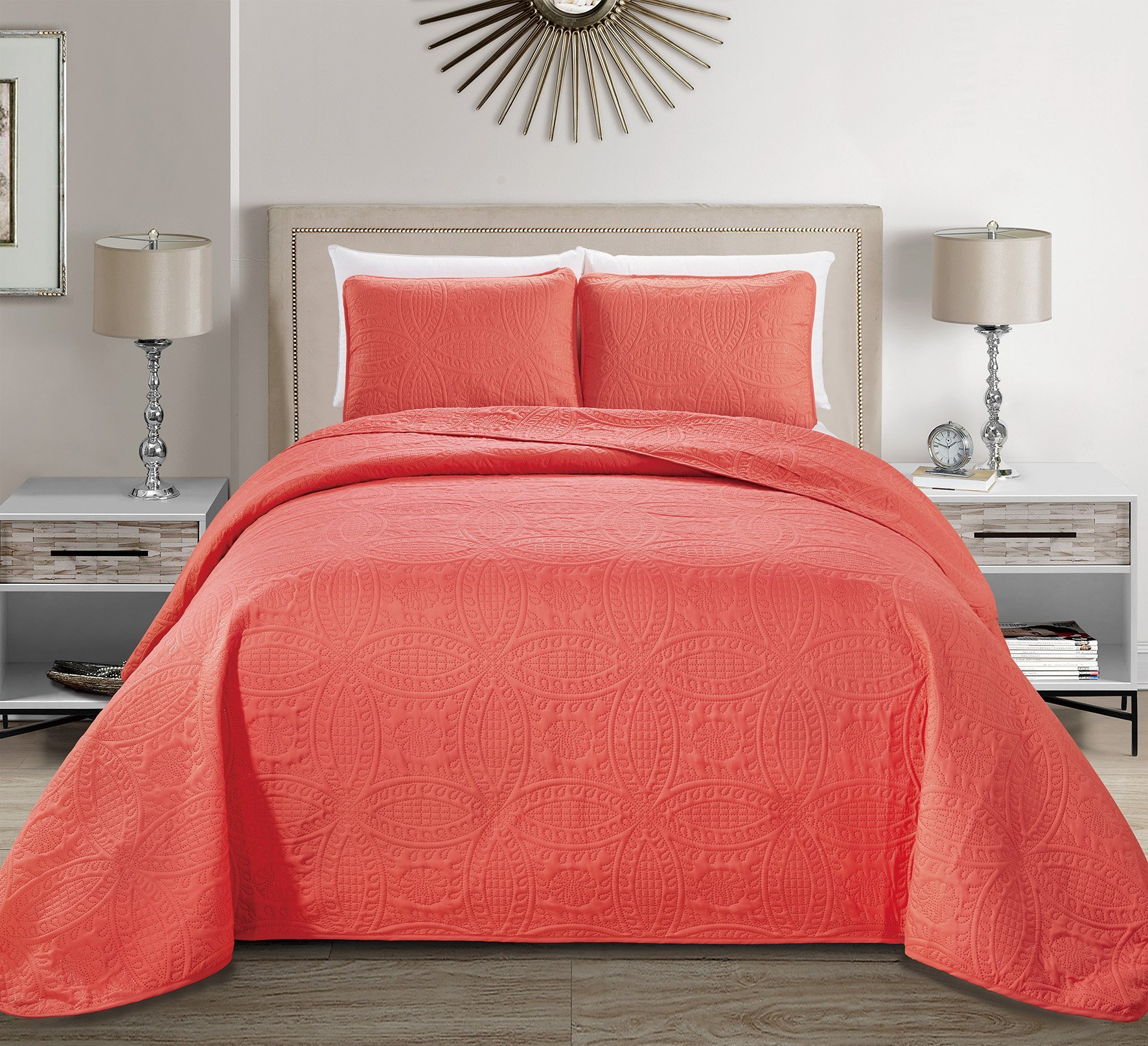MK Home Mk Collection 3pc King/California King Solid Embossed Bedspread Bed Cover Over Size Coral New