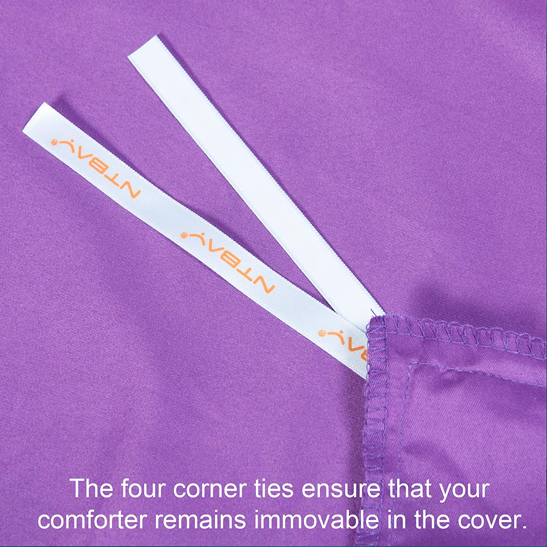 NTBAY Microfiber Kids Duvet Cover Set Royal Blue Twin 2 Pieces Solid Color Zipper Closure Comforter Cover Set