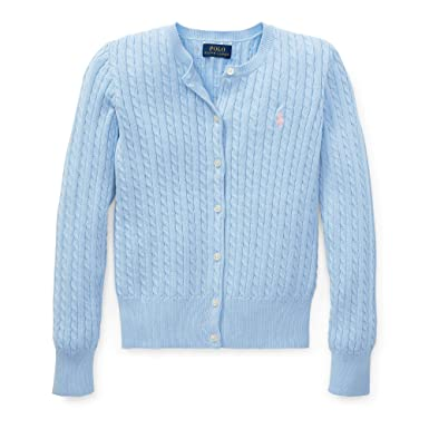 39086cf22eb7b4 Ralph Lauren Polo Girls Cotton Knit Cable Cardigan Sweater (Blue/Pink Pony,  Small