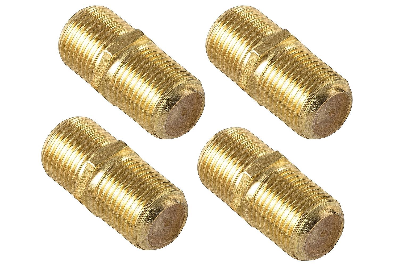 Conector F Color Dorado Poppstar/ /Cable de Antena conexi/ón Conector para Cable coaxial/ /4/x Sat Cable Coaxial Hembra para 4//–/8,2/mm Coax Cable con Conector F Hembra-Hembra