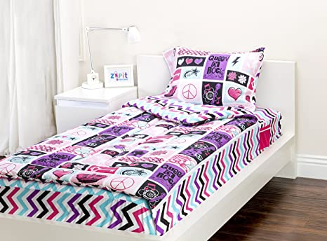 Letto Zip Bedden : Zipit bedding set rock princess twin zip up your sheets and