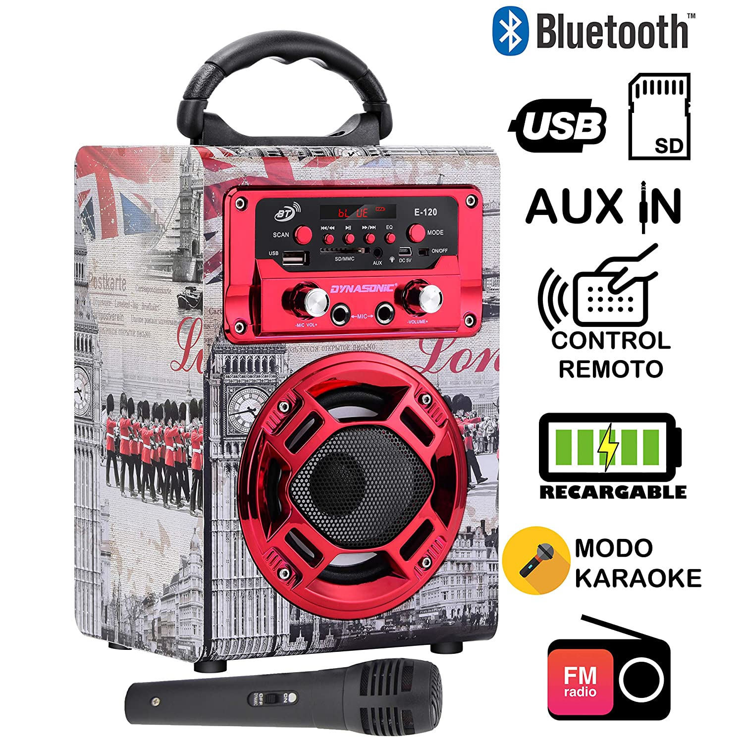 Dynasonic 120-1 - Mini Altavoz Bluetooth Portátil, Diseño Londres, Color Rojo