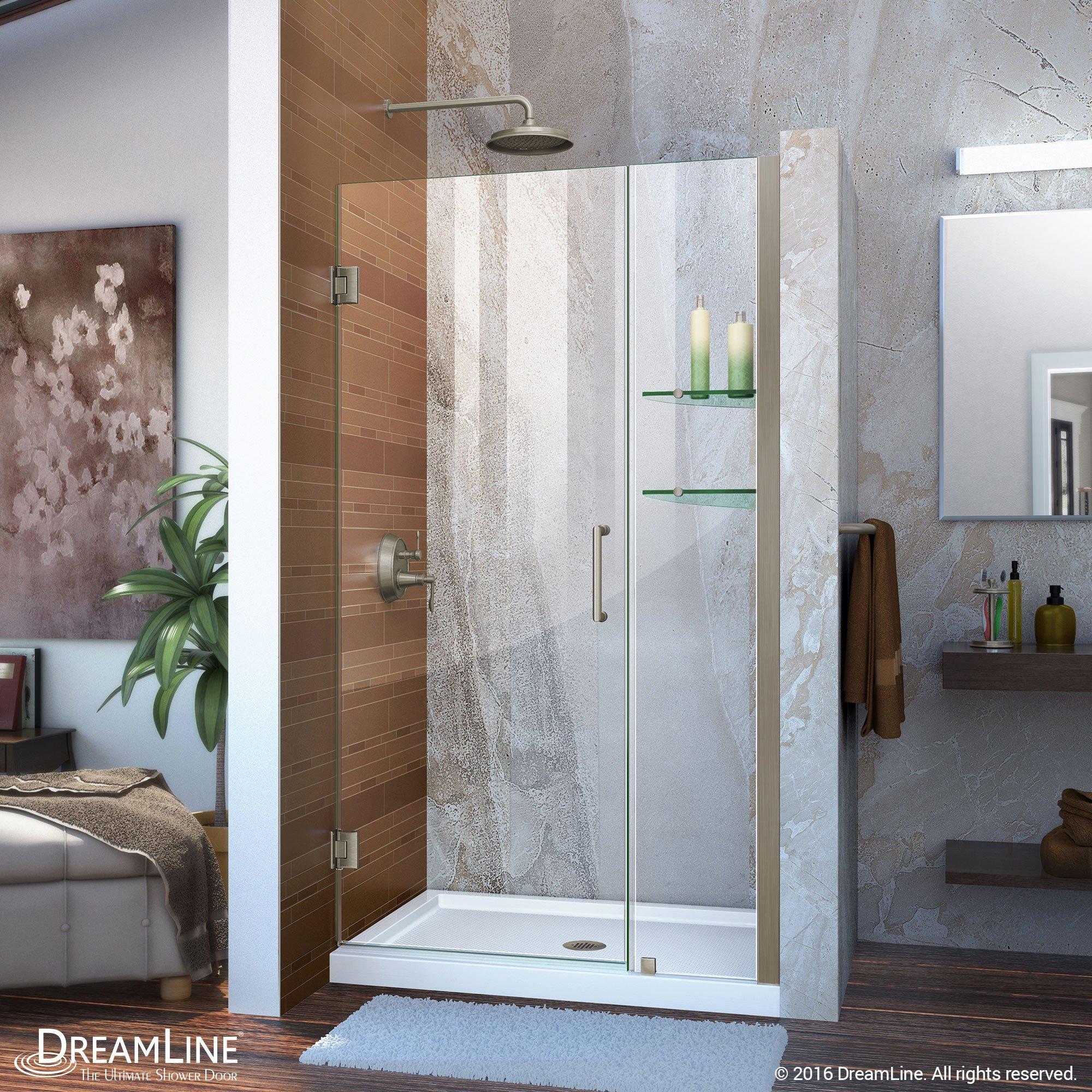 DreamLine Unidoor 42-43 in. Width, Frameless Hinged Shower Door, 3/8'' Glass, Brushed Nickel Finish