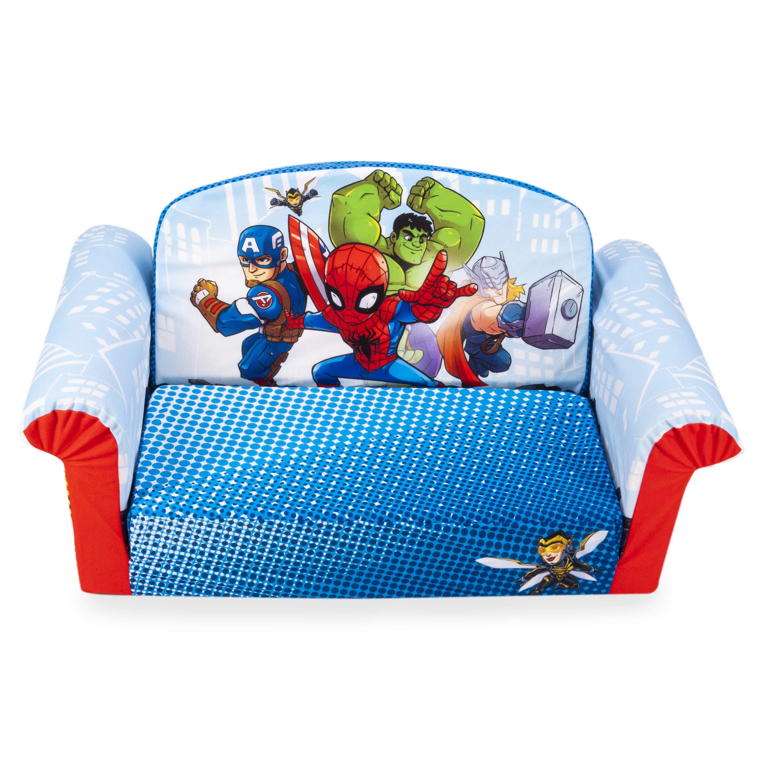 Marshmallow Furniture, Children's 2-in-1 Flip Open Foam Sofa, Marvel Super Hero Adventures, by Spin Master by Marshmallow Furniture