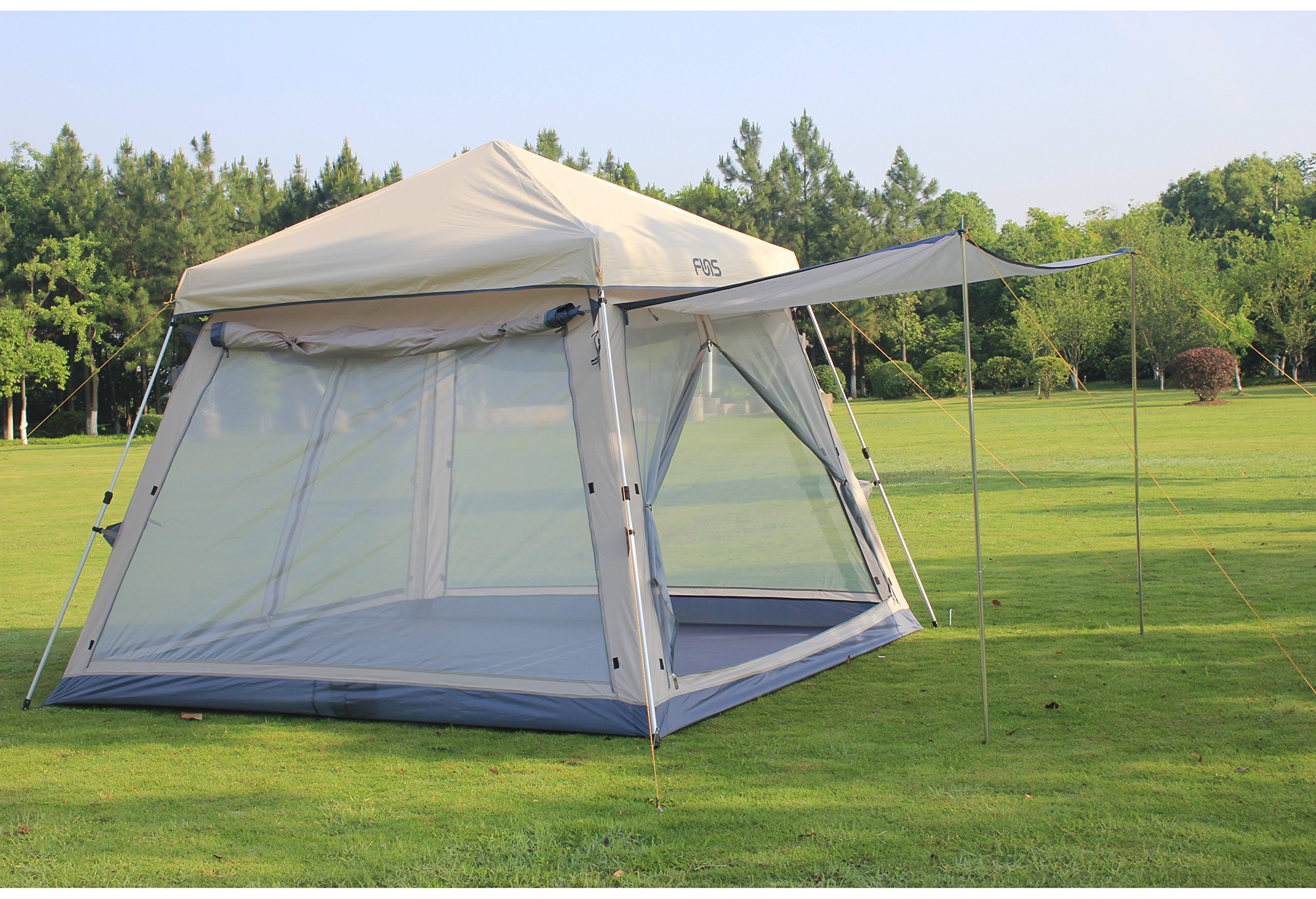 FUNS 10 by 10 ft Automatic Pop Up Camping Gazebo Easy Set Up 5 Person Instant Family Tent