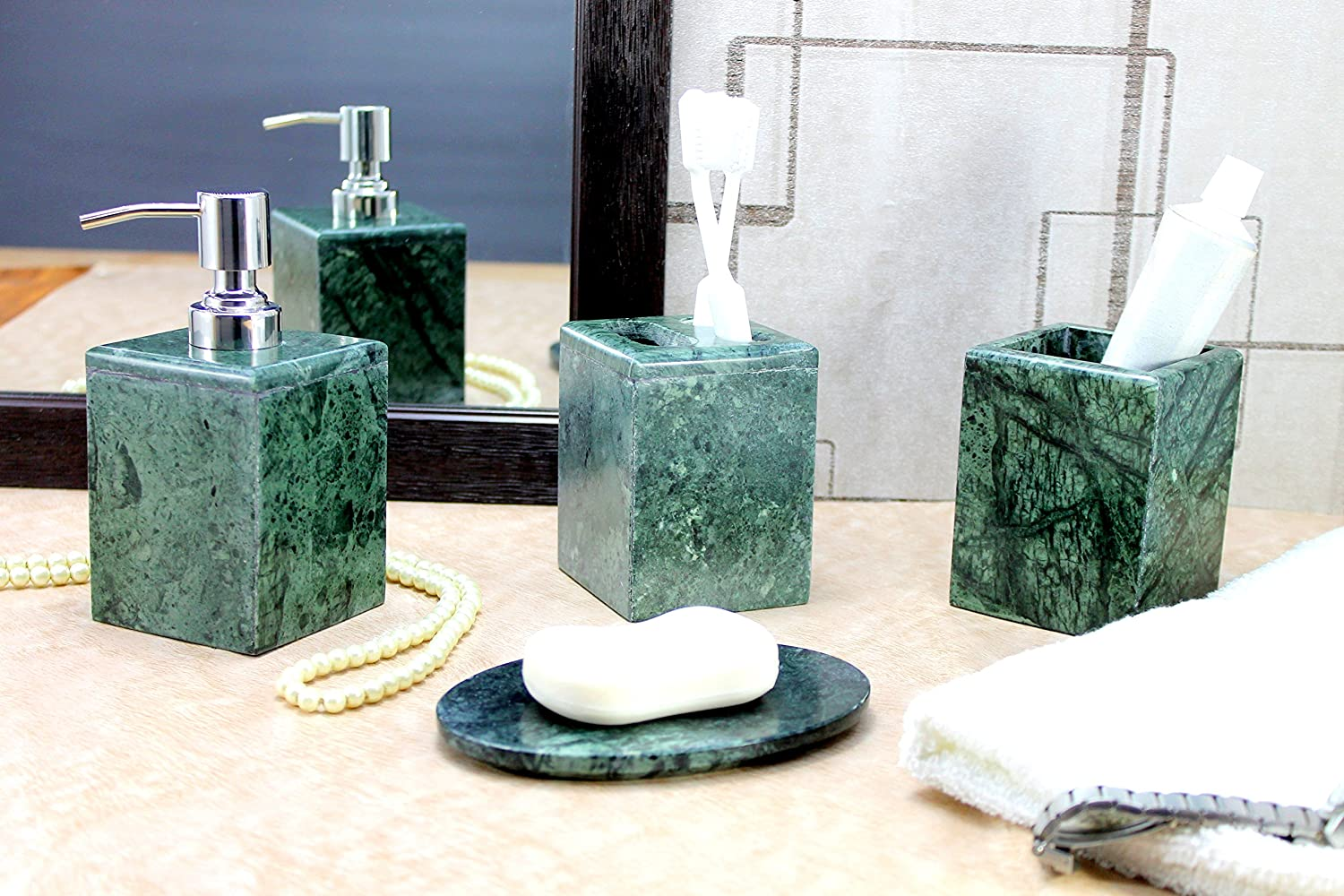 Grey bathroom accessories - Kleo Bathroom Accessory Set Made From Natural Black Grey Stone Bath Accessories Set Of 4 Includes Soap Dispenser Toothbrush Holder Utility And Soap