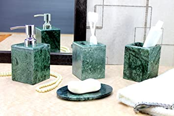 KLEO   Bathroom Accessory Set Made From Natural Green Stone   Bath  Accessories Set Of 4