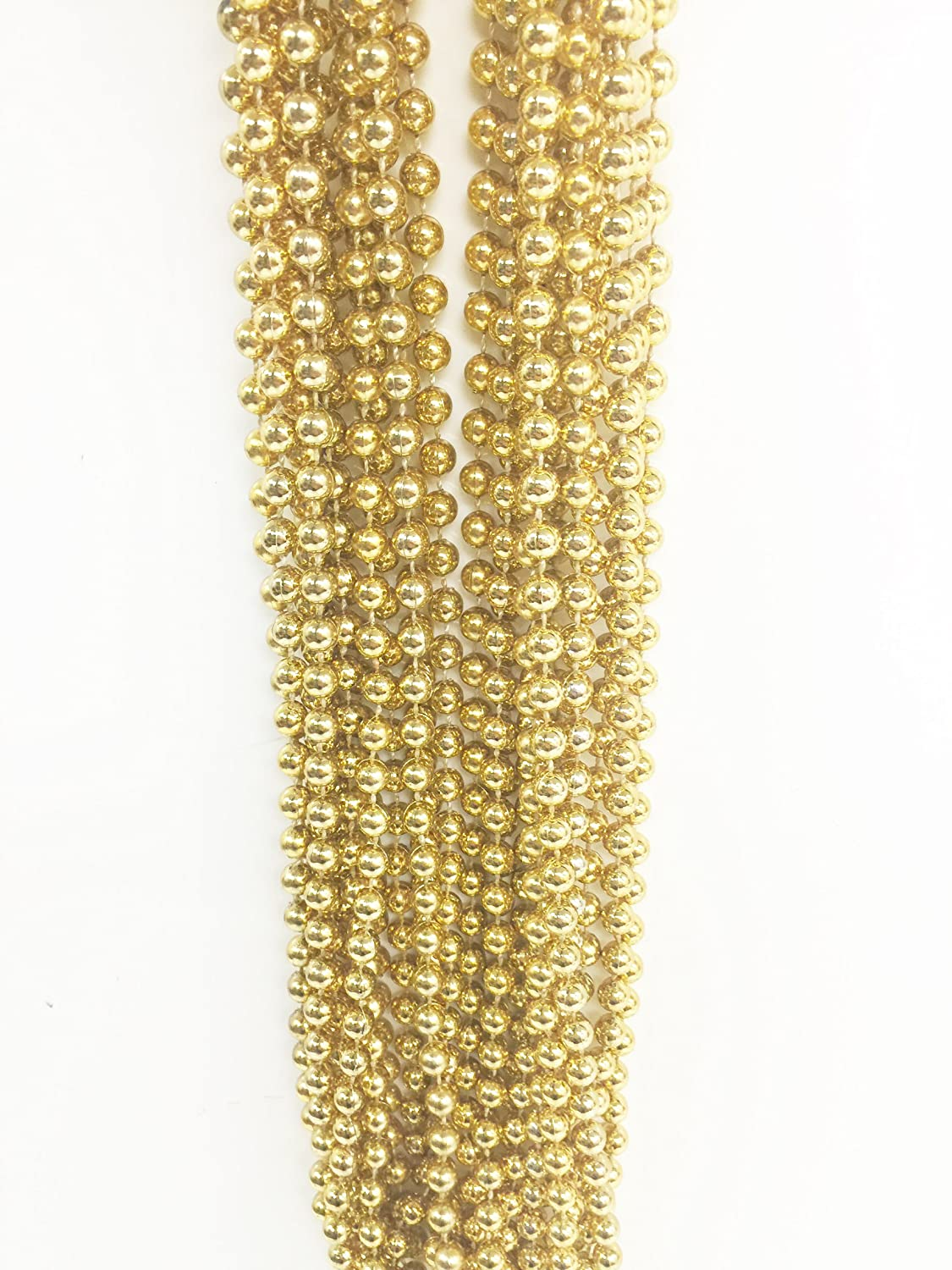 """GIFTEXPRESS Pack of 12, 33"""" 7mm Metallic Gold Bead Necklaces Bulk, Gold Party Bead Necklaces, Mardi Gras Bead Necklaces (Gold)"""