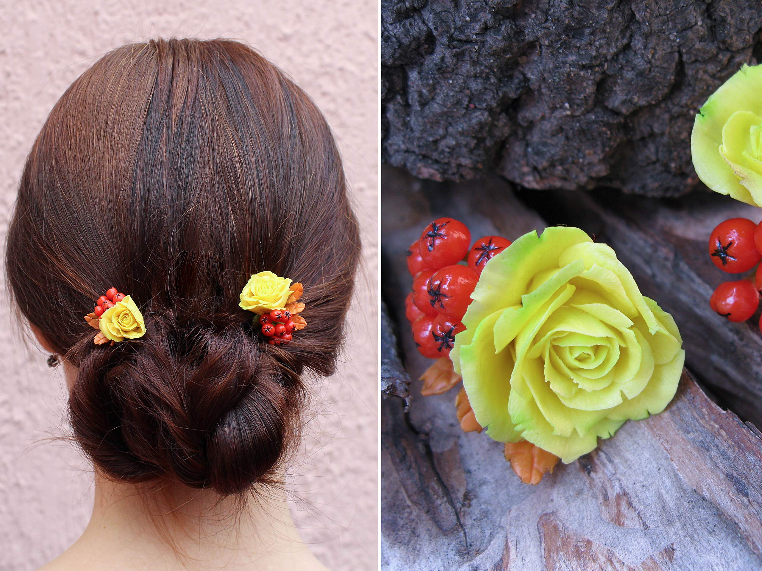 Fall leaves wedding hair pins Autumn bridal bobby pins Rustic flower floral yellow rose orange rowan berry bright colorful hairpiece harvest Thanksgiving party Handmade unique hair clip by MFlowerJewelry