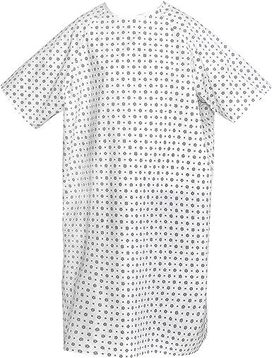Talvania bata de hospital, mezcla de algodón, unisex, para pacientes, corbatas, 47 pulgadas de largo y