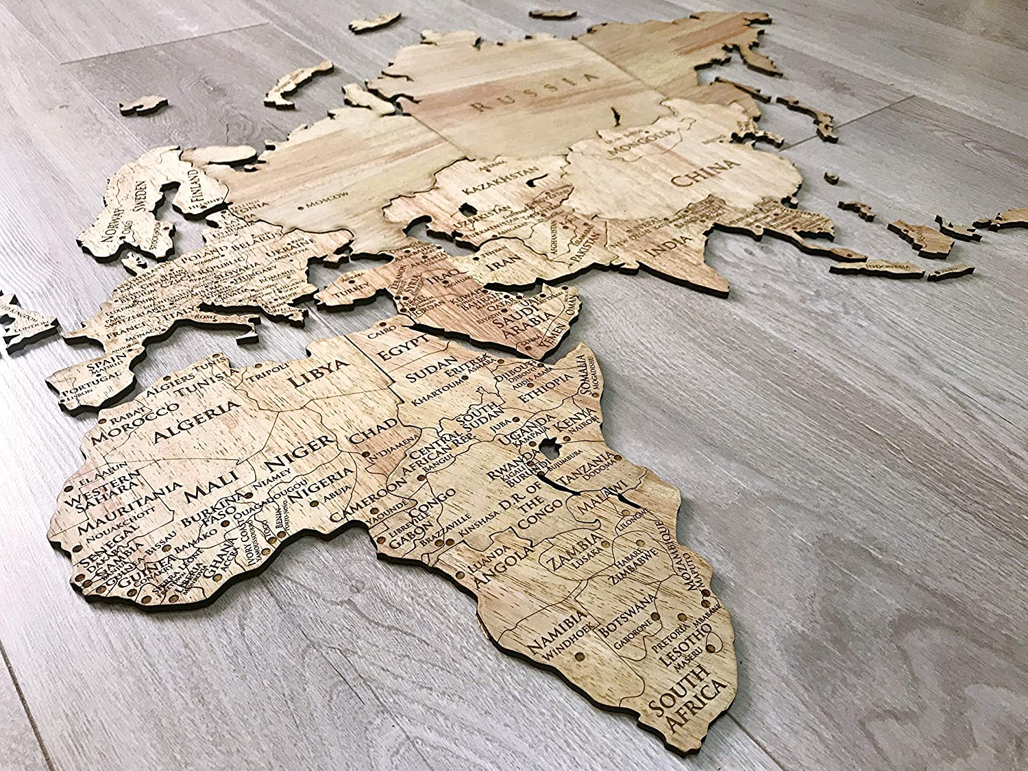 customized engraving home decor accessories gift wooden travel map present World map rustic house decoration Unik4art Wooden World map wall decor