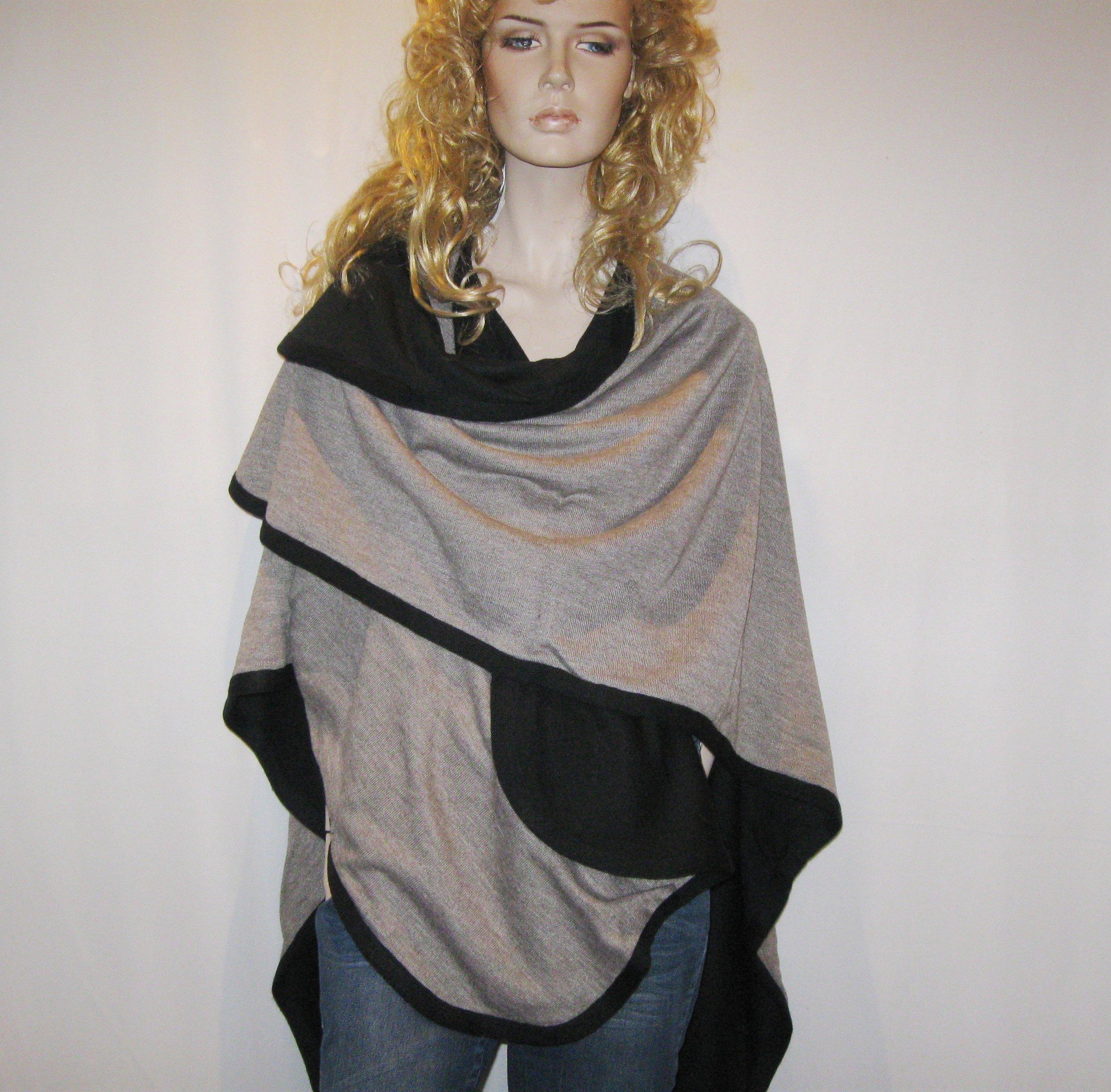 Cashmere Pashmina Group- Cape Woolen Reversible Ruana Knitted Poncho Shawl Cardigans Sweater Coat (Black/ Stone) by Cashmere Pashmina Group (Image #3)