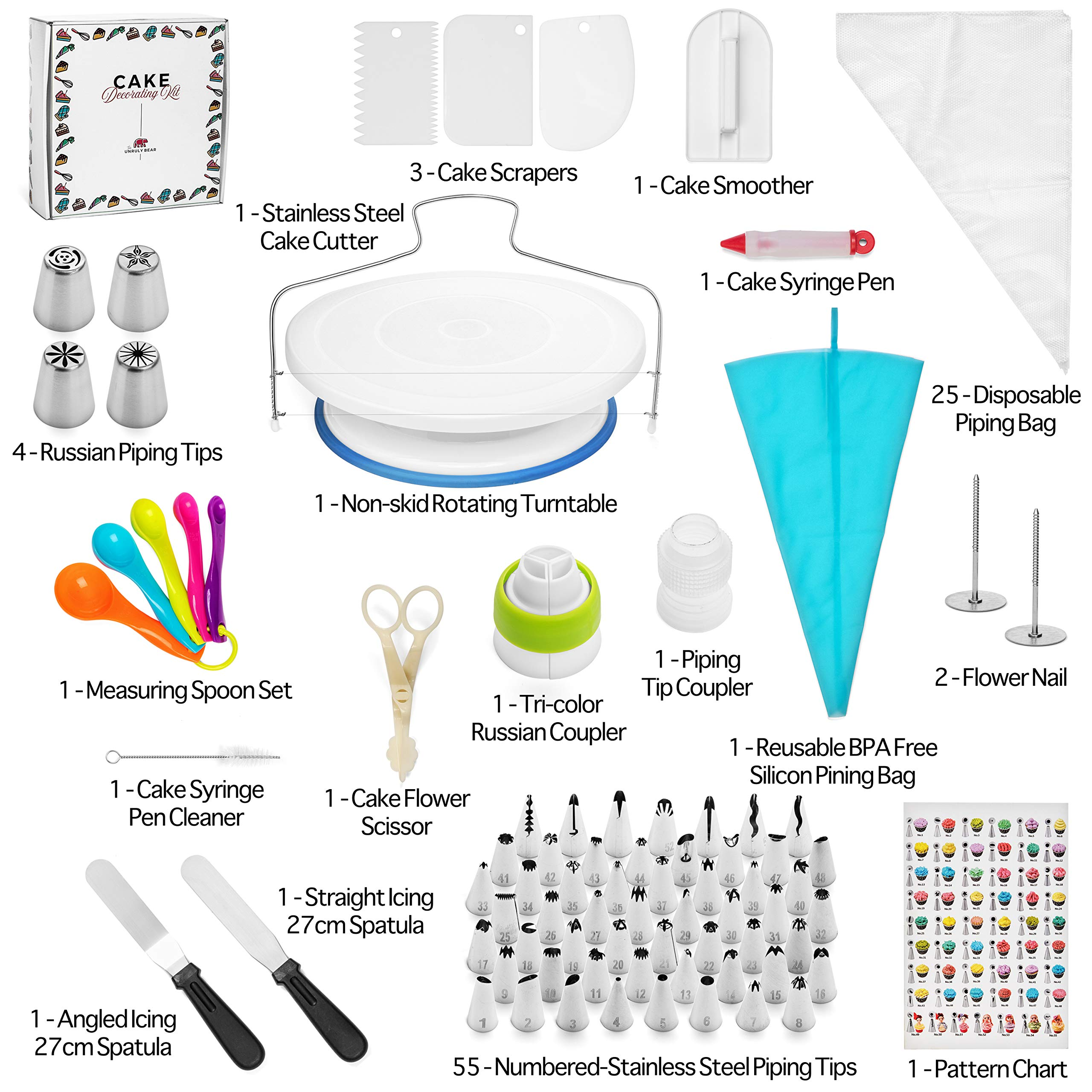 Cake Decorating Supplies Kit by The Unruly Bear - 100+ pc Baking tools set includes turntable stand, piping bags, stainless numbered Icing and Russian tips with coupler, measuring spoons, and MORE! by The Unruly Bear (Image #2)