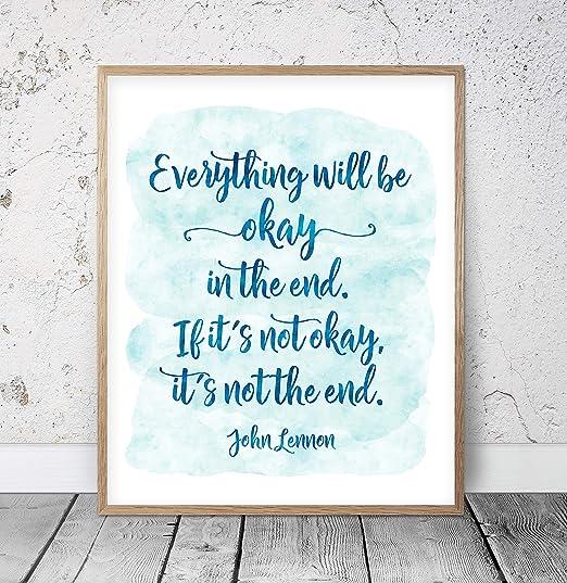 John Lennon Inspirational Wall Art Print Motivational Quote Poster Decor Gift