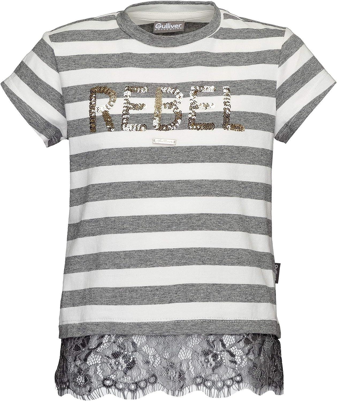 GULLIVER 98-128 cm Maglietta a Maniche Corte da Bambina con Paillettes Colore: Grigio//Bianco Motivo a Righe