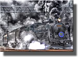 Steam Engine Train Picture on Stretched Canvas Wall Art Décor, Ready to Hang!