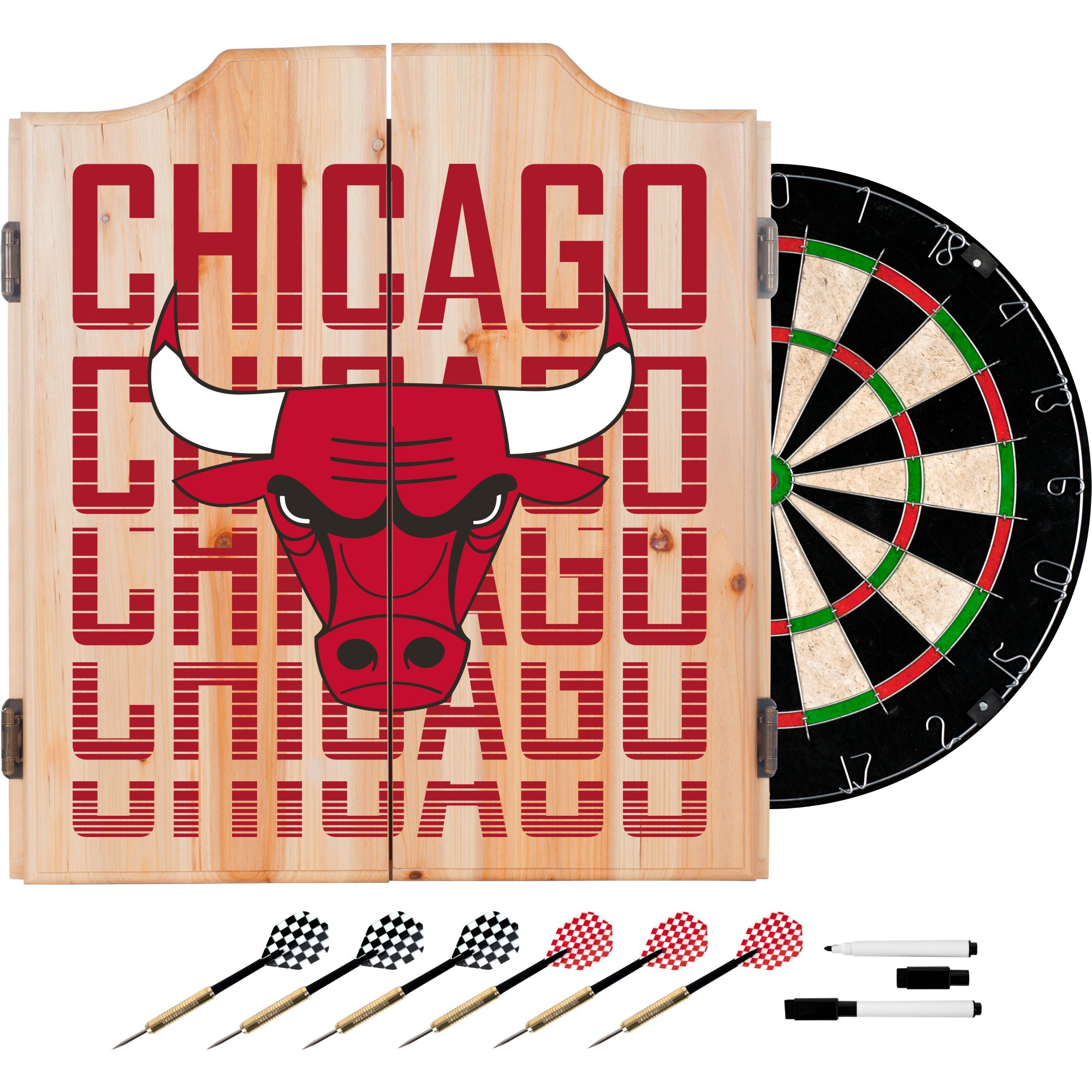 Trademark Gameroom NBA7010-CB3 NBA Dart Cabinet Set with Darts & Board - City - Chicago Bulls