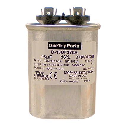amazon com onetrip parts usa run capacitor 15 uf 15 mfd 370 vac rh amazon com Refrigerator Run Capacitor Wiring Diagram Air Conditioner Capacitor Diagrams