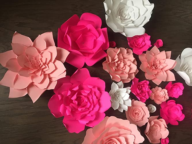 Amazon set of 10 mix of giant paper flower backdropwindow set of 10 mix of giant paper flower backdropwindow display flower backdrop giant mightylinksfo Images