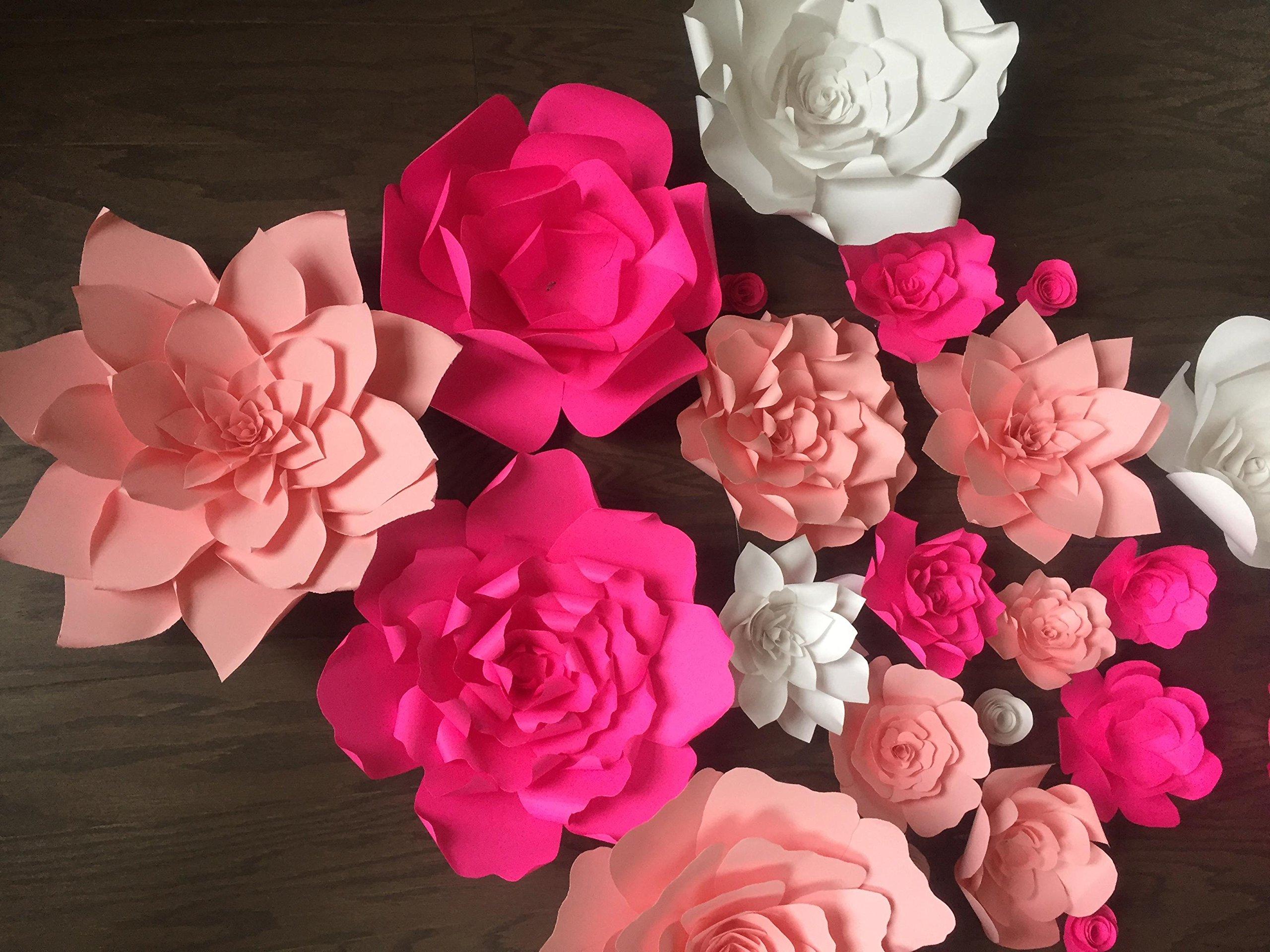 Set of 10 Mix of Giant Paper flower backdrop,window display flower backdrop,Giant paper flower wedding backdrop pink,fuchsia,white,Nursery room decor