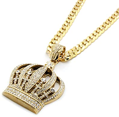 e40fa4f5e19 Image Unavailable. Image not available for. Color  Mens Gold Tone Iced Out  Queen Crown Hip-Hop Pendant with 10mm 30 quot  Inch